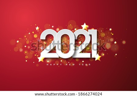 2021 happy new year with white numbers on dark red background. #1866274024