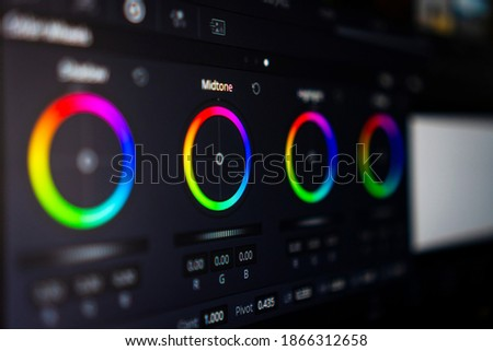 Video editing, color correction software, close up of the screen. video editing concept.