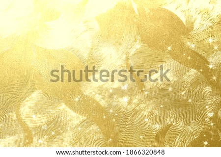 Golden Japanese paper and light background material  Royalty-Free Stock Photo #1866320848