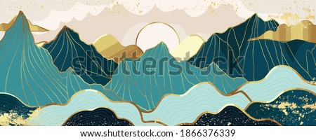 Gold mountain wallpaper design with landscape line arts, Golden luxury background design for cover, invitation background, packaging design, wall arts, fabric, and print. Vector illustration. Royalty-Free Stock Photo #1866376339