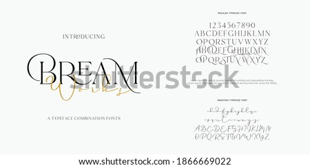 Abstract Fashion font alphabet. Minimal modern urban fonts for logo, brand etc. Typography typeface uppercase lowercase and number. vector illustration Royalty-Free Stock Photo #1866669022