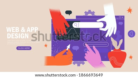 Hands are working on website or application, ui ux design and programming. Team of designers doing research and prototyping. Web studio or mobile application concept for banner, ads, landing page. Royalty-Free Stock Photo #1866693649
