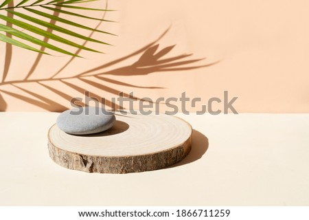 Minimal modern product display on textured beige background with shadows overlay and natural podium Royalty-Free Stock Photo #1866711259
