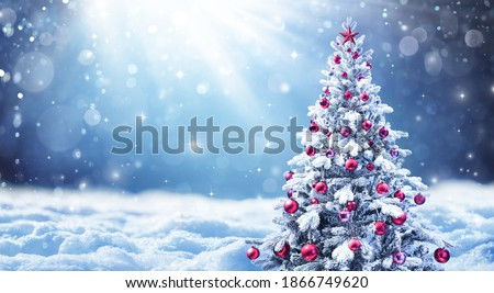 Snowy Christmas Tree With Red Balls In A Abstract Defocused Landscape