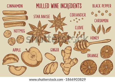 A set with ingredients for mulled wine (cinnamon, nutmeg, orange, cardamom, coriander, black pepper, apple, star anise, cloves, honey, ginger) Royalty-Free Stock Photo #1866903829
