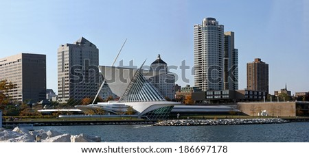 City of Milwaukee Wisconsin skyline from Lake Michigan view