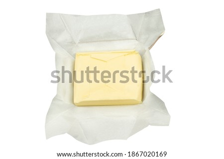 Isolated open packet of butter with clipping path Royalty-Free Stock Photo #1867020169