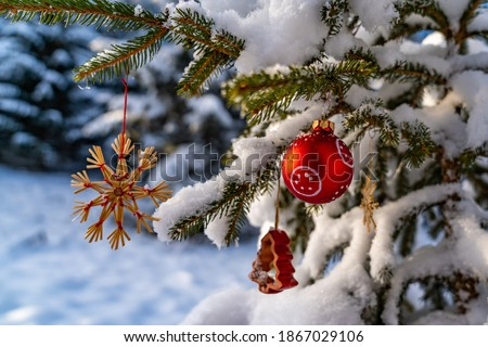 red Christmas tree ball, Straw star and red bell. Christmas tree decorations in evening sun in the freshly snow-covered winter forest. Christmas during corona time. Outdoor party. snowy fir branch,