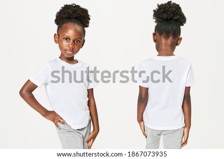 Girl's casual in white tee front and back Royalty-Free Stock Photo #1867073935