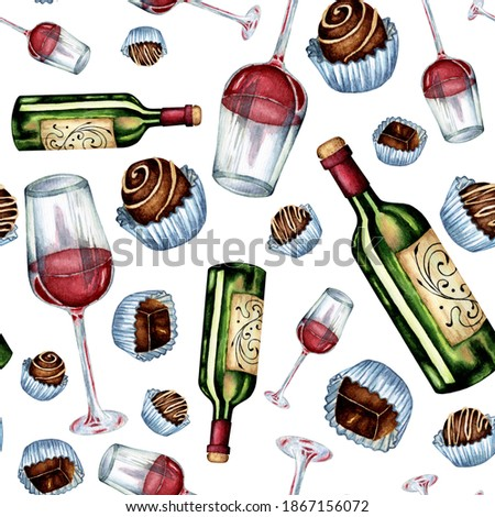 Watercolor seamless pattern of wine and sweets. A repeating illustration of a bottle of wine, a glass of red wine and chocolates on a substrate. Isolated on white background. Drawn by hand.