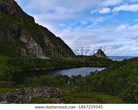 View of small lake Solsvatnet located at the coast of the Norwegian Sea near village Bleik, Andøya island, Vesterålen, Norway surrounded by dense vegetation and rugged mountains on cloudy summer day. Royalty-Free Stock Photo #1867259545
