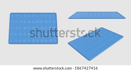 set of blue Soft pet rug silicone pet cat dog mat collection. isolated white background different angles pose top side perspective view 3d illustration. clipping mask