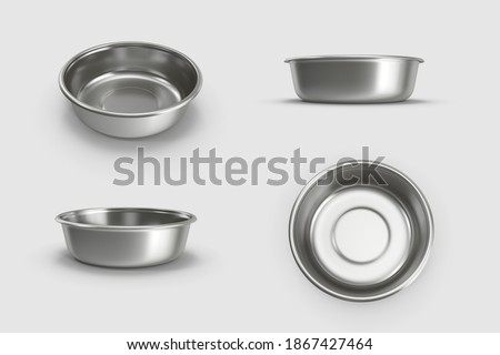 a set of metal stainless steel material aluminium empty cat dog pet bowl collection. isolated on white background. 3d illustration. different angles top side perspective view. clipping mask