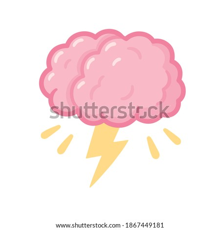 Brainstorm drawing, cartoon brain with storm lightning. Creative thinking and problem solving. Isolated clip art illustration.
