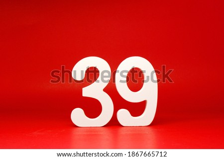 No 39 ( thirty nine ) Isolated red  Background with Copy Space - Number 39% Percentage or Promotion - Discount or anniversary concept                                  #1867665712
