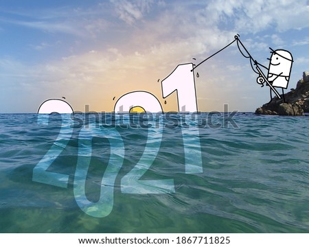 Hand drawn Cartoon Man Fishing a big 2021 sign, in a Blue Ocean photo