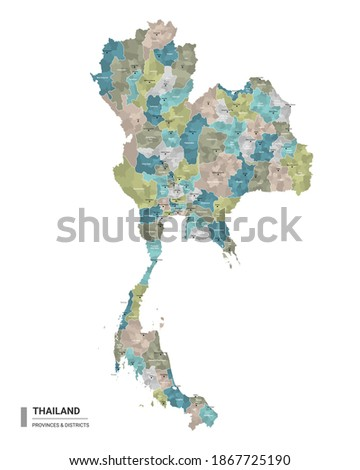 Thailand higt detailed map with subdivisions. Administrative map of Thailand with districts and cities name, colored by states and administrative districts. Vector illustration. Royalty-Free Stock Photo #1867725190
