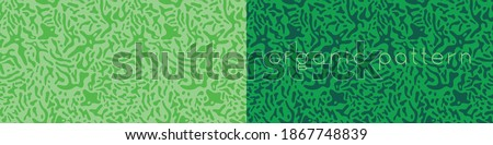 Organic seamless pattern and vegetarian background with liquid shapes. Modern ornament. Green packaging design template. Label tag design, vegan food, natural eco cosmetic, bio concept, nature concept Royalty-Free Stock Photo #1867748839