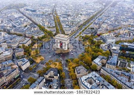 Aerial view of Arc de Triomphe, Paris Royalty-Free Stock Photo #1867822423