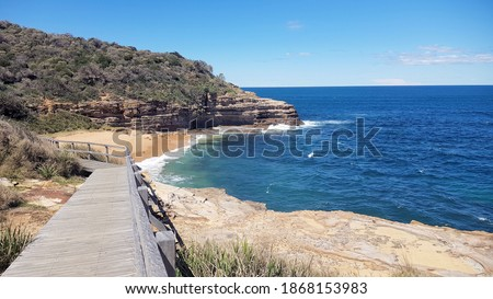 Coastal views of cliffs on the Bouddi Coastal Walk, New South Wales Australia Royalty-Free Stock Photo #1868153983
