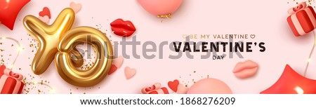 Happy Valentine's Day Romantic creative banner, horizontal header for website. Background Realistic 3d festive decorative objects, red lips, heart shaped balloons, XO symbol, gift box. Realism design Royalty-Free Stock Photo #1868276209