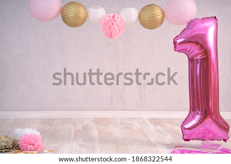 Digital backdrop first birthday cake smash pink white gold Royalty-Free Stock Photo #1868322544