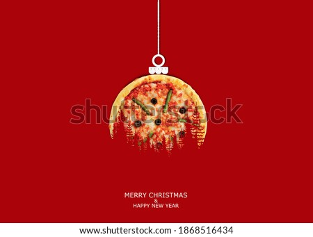 Pizza with Christmas and New Year concept. Isolated on Red Background.