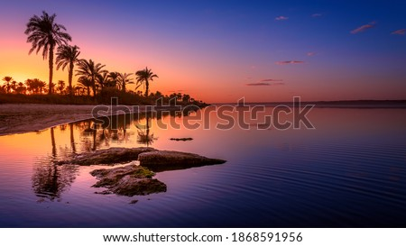 Sunset on Lake Qarun, Fayoum, Egypt Royalty-Free Stock Photo #1868591956