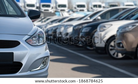 Cars in a rows. Used car sales Royalty-Free Stock Photo #1868784625