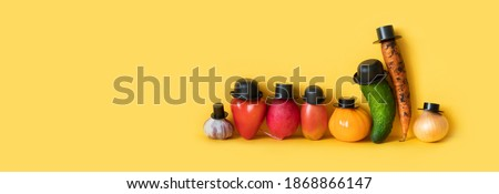 Funny characters of a large family of vegetables. Creative design farmers food market advertising poster. yellow background, copy space for text Royalty-Free Stock Photo #1868866147