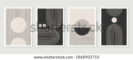 Abstract wall arts vector collection.  Black and white organic shape Art design for poster, print, cover, wallpaper, Minimal and  natural wall art. Vector illustration. Royalty-Free Stock Photo #1868903710