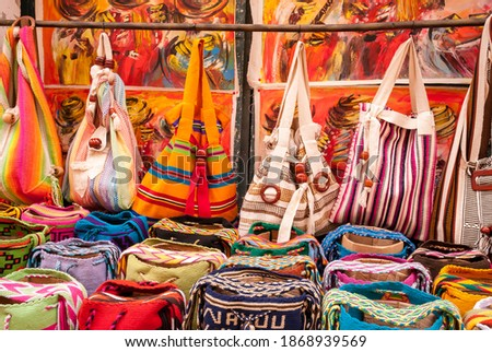 Colorful colombian artesany in Cartagena Royalty-Free Stock Photo #1868939569