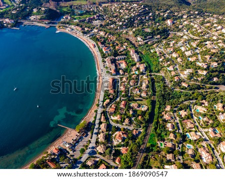 Agay Bay  Beach scenic and panoramic Aerial view in the French Riviera, Côte d'Azur, France Royalty-Free Stock Photo #1869090547
