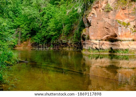 sandstone cliffs on the river Amata in Latvia summer water stream with high level and green foliage