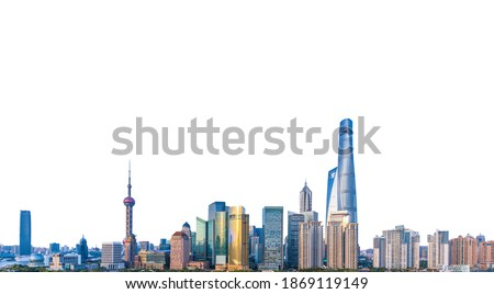 Cityscape of Shanghai (China) isolated on white background