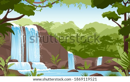 Waterfall in green jungle rainforest vector illustration. Cartoon tropical panoramic landscape with river water falling down from mountain rocks, fresh greenery of wild trees and bushes background Royalty-Free Stock Photo #1869119521