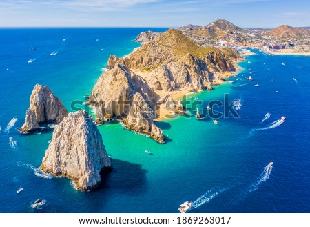 Aerial view of Lands End and the Arch of Cabo San Lucas, Baja California Sur, Mexico, where the Gulf of California meets the Pacific Ocean Royalty-Free Stock Photo #1869263017