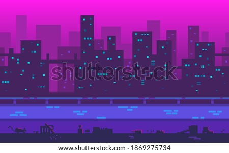 Pixel art background. Metropolis with skyscrapers in the evening. A large city with a place to move your character. Seamless vector background Royalty-Free Stock Photo #1869275734