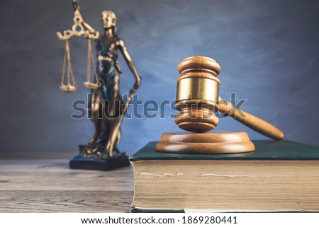 judge on book and justice lady on table