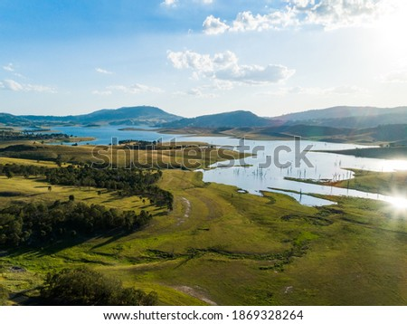View of Lake St Clair in the Hunter valley NSW Australia. Water supply dam landscape