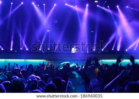 MINSK, BELARUS - FEBRUARY 21: Members of ARMIN ONLY: Intense show with Armin van Buuren in Minsk-Arena on February 21, 2014 #186960035