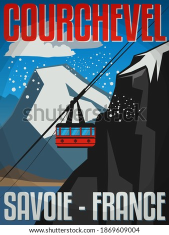Courchevel is a French Alps ski resort. It is a part of Les Trois Vallées, the largest linked ski areas in the world, vector illustration Royalty-Free Stock Photo #1869609004