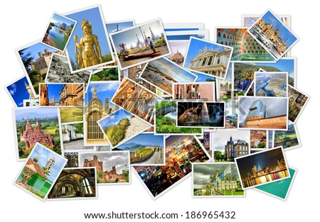pile of photo's with travel destinations from all over the world isolated on white