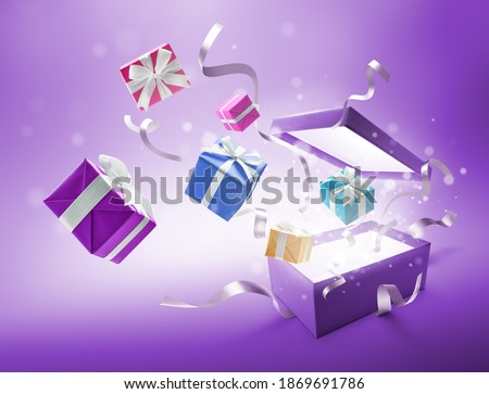 Ribbons and gifts bursting out from purple color open gift box Royalty-Free Stock Photo #1869691786