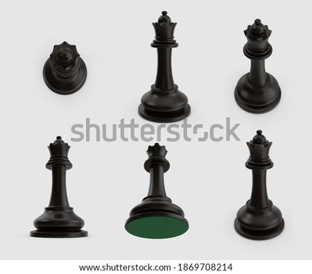 set of black queen chess figure standing wooden material collection winner concept isolated on white background. 3d illustration. different angles top side perspective view. clipping mask. realistic