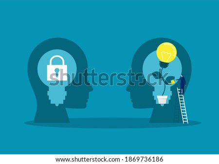 businessman Watering plants with big brain growth mindset concept