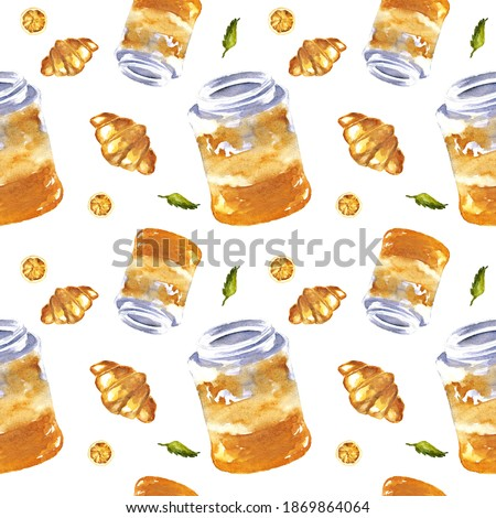 Watercolor breakfast or lunch food seamless background. Hand drawn texture of food elements isolated on white background: jam jars, croissants, orange slices. Traditional breakfast design for decor.