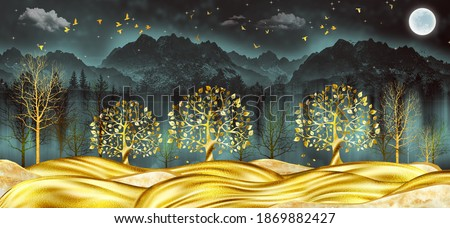 3d modern art mural wallpaper with dark Jungle , forest background . golden tree ,  marble mountain , moon with golden birds . canvas Suitable for use as a frame on walls .