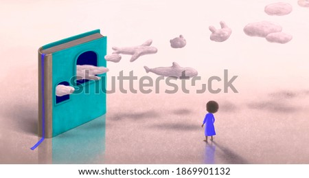 Education learning dream hope inspiration and freedom concept, girl with  imagination book. surreal painting. Fantasy art, conceptual artwork, happiness of child , 3d illustration