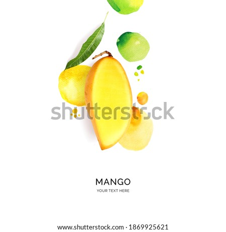 Creative layout made of mango with watercolor spots on the white background. Flat lay. Food concept. Royalty-Free Stock Photo #1869925621